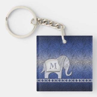 Elephant Walk Monogram Silver/Blue Single-Sided Square Acrylic Keychain