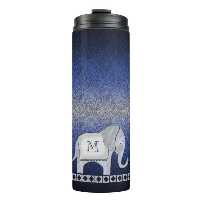Elephant Walk Monogram Silver/Blue