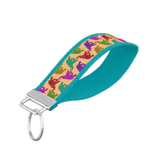 Elephant Walk pattern tiles design + your backgr. Wrist Keychain