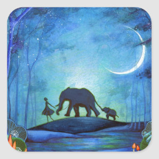 Elephant Walk Square Sticker