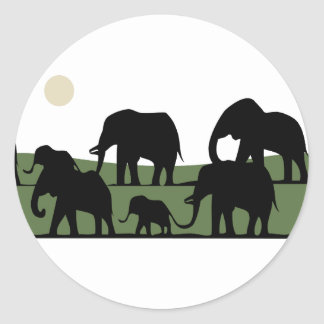 Elephant walking classic round sticker