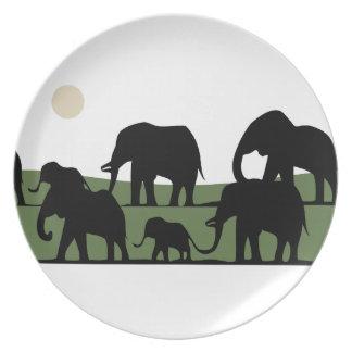 Elephant walking dinner plate