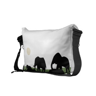Elephant Walking Family Courier Bag