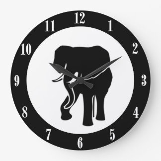Elephant Wall Clock with White Numbers