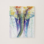 "Elephant watercolor art jigsaw puzzle<br><div class=""desc"">This is a pen and ink with watercolor wash of an elephant.</div>"