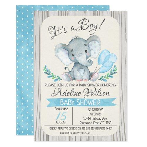Elephant Watercolor Baby Shower Invitation
