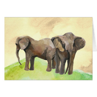 elephant watercolor blank note card. card