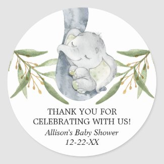 Elephant watercolor greenery green gold favor classic round sticker
