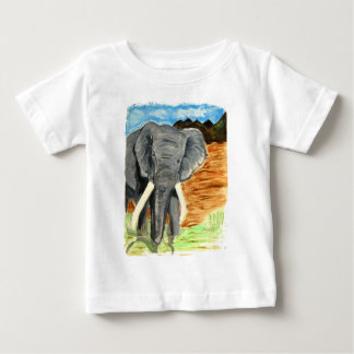 Elephant watercolor with mountains baby T-Shirt