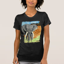 Elephant watercolor with mountains T-Shirt