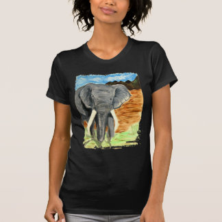 Elephant watercolor with mountains t shirts