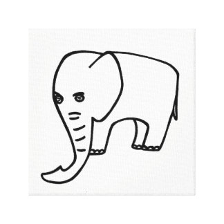 Elephant white grey canvas print