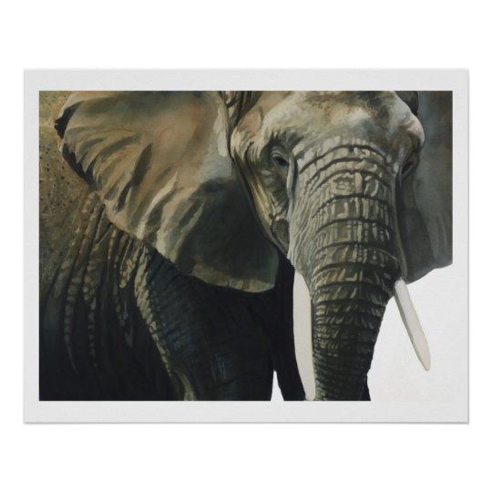 """Elephant"" Wildlife Animal Watercolor Poster"