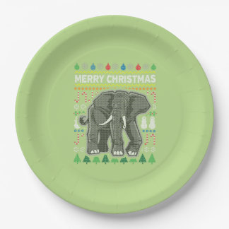 Elephant Wildlife Merry Christmas Ugly Sweater Paper Plate
