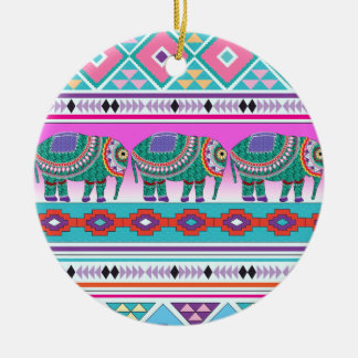 Elephant with Aztec Pattern Ceramic Ornament