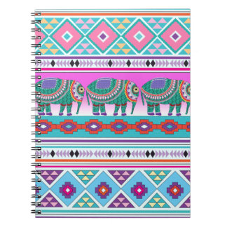 Elephant with Aztec Pattern Spiral Notebook