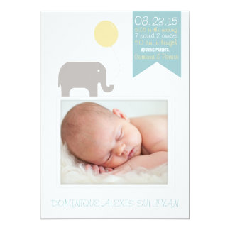 Elephant with Balloon Photo Birth Announcement