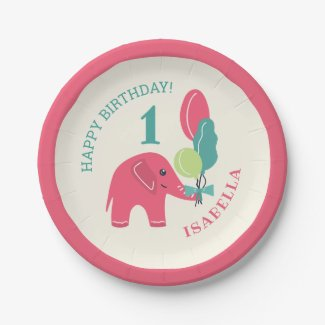 Elephant with Balloons Girls 1st Birthday Paper Plate