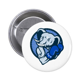 Elephant With Boxing Gloves Democrat Mascot 2 Inch Round Button