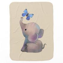 Elephant with butterfly baby blanket