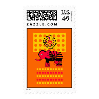 Elephant With Child Postage Stamp