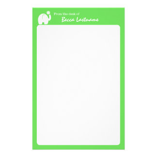 Elephant with Flower and Green Personalized Stationery Paper