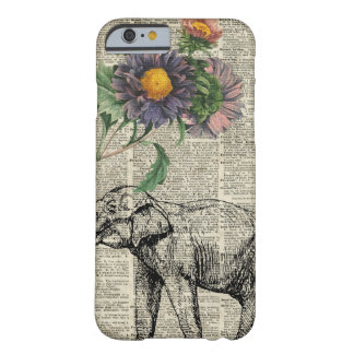 Elephant with Flowers Collage Over Vintage Page Barely There iPhone 6 Case