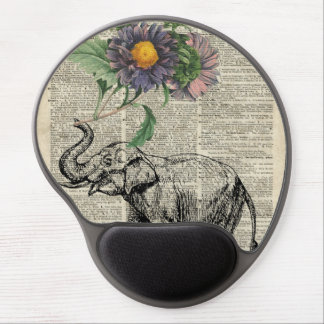Elephant with Flowers Collage Over Vintage Page Gel Mouse Pad