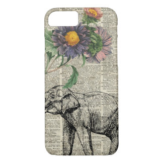 Elephant with Flowers Collage Over Vintage Page iPhone 8/7 Case