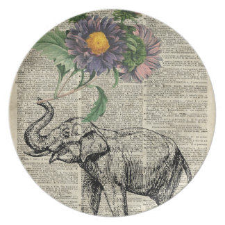Elephant with Flowers Collage Over Vintage Page Melamine Plate