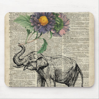 Elephant with Flowers Collage Over Vintage Page Mouse Pad