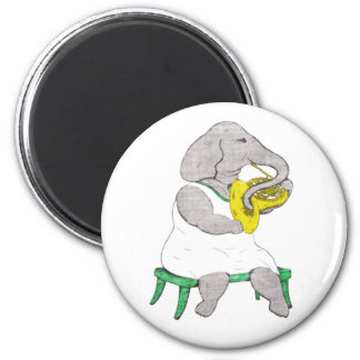 Elephant with French Horn Fridge Magnets