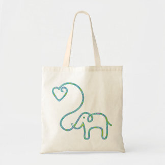 ELEPHANT with heart Tote Bags