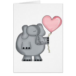 Elephant with Heart Balloon Greeting Card