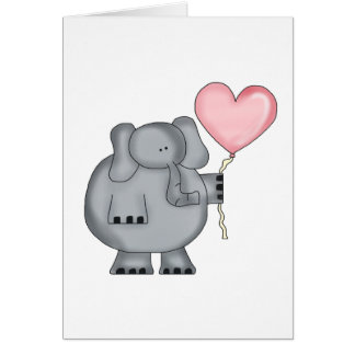 Elephant with Heart Balloon Card