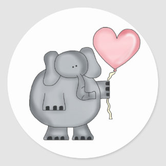 Elephant with Heart Balloon Classic Round Sticker