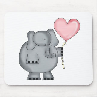 Elephant with Heart Balloon Mouse Pad