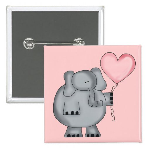 Elephant with Heart Balloon Pinback Button