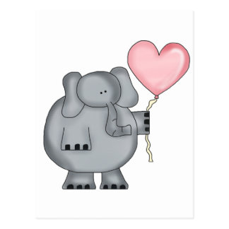 Elephant with Heart Balloon Post Cards