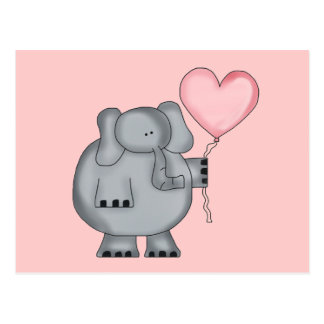 Elephant with Heart Balloon Postcard