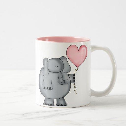 Elephant with Heart Balloon Two-Tone Coffee Mug