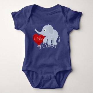 "Elephant with heart declares, ""I love my Gruncle"" Baby Bodysuit"