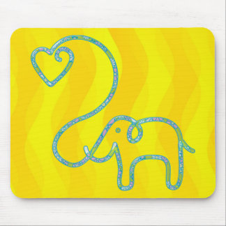 ELEPHANT with heart Mouse Pad