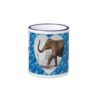 Elephant with Heart Ringer Coffee Mug