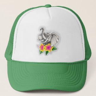 Elephant with Hibiscus Design Trucker Hat