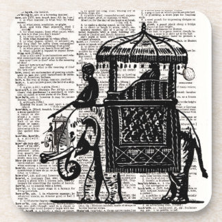 Elephant with Howdah Dictionary Art Beverage Coaster