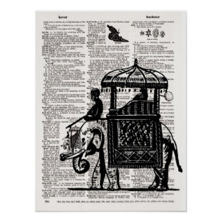Elephant with Howdah Dictionary Art Posters
