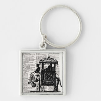 Elephant with Howdah Dictionary Art Silver-Colored Square Keychain