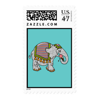 Elephant with Ice Cream Cone Blank Postage Stamp