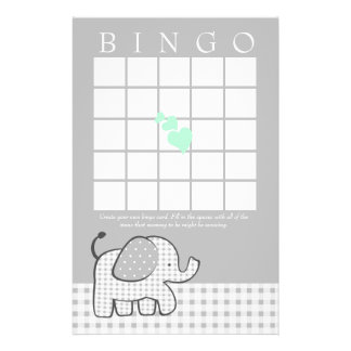 Elephant with Mint Green Hearts Gingham Bingo Card
